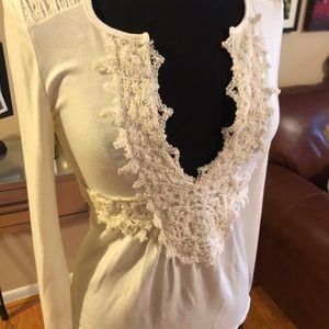 White House Black Market Embroidered Knit Blouse